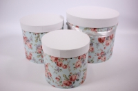 Набор подарочных коробок из 3шт (Цилиндр) Цветы голубой с белой крышкой d=22, h=20см