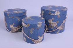 Набор подарочных коробок из 3шт - Цилиндр Цветы Синий d=20, h=17см