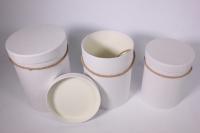Набор подарочных коробок из 3шт Цилиндр однотонный - белый