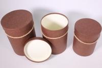 Набор подарочных коробок из 3шт Цилиндр однотонный - коричневый
