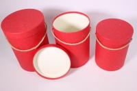 Набор подарочных коробок из 3шт Цилиндр однотонный - красный