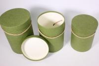 Набор подарочных коробок из 3шт Цилиндр однотонный - оливковый