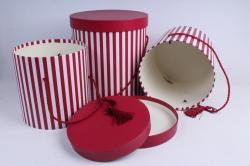 Набор подарочных коробок из 3шт- Цилиндр полоска малиновый с кисточкой  М21