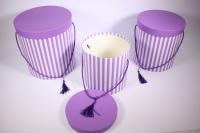Набор подарочных коробок из 3шт - Цилиндр Полоска сиреневая