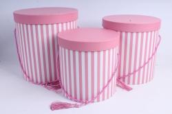Набор подарочных коробок из 3шт- Цилиндр полоска светло-розовый с кисточкой  М21