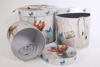 Набор подарочных коробок из 3шт (Цилиндр) Тюльпаны и Бабочки