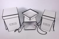 Набор подарочных коробок из 3шт- Колонна с кантом - белая 17*17*25см