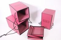 набор подарочных коробок из 3шт- колонна с кантом - бордовая 17*17*25см