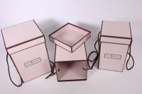Набор подарочных коробок из 3шт- Колонна с кантом - розовая 17*17*25см