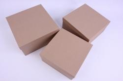 Набор подарочных коробок из 3шт- Квадрат №71-3 Крафт    Пин71-3-К