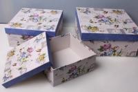 """Набор подарочных коробок из 3шт. """"Квадрат, цветы"""" 37134"""