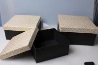 """Набор подарочных коробок из 3шт. """"Квадрат, крышка с блестками"""" 37143"""