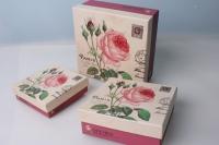 Набор подарочных коробок из 3шт. - Квадрат Роза марка 19х19х8см цвета и рисунки в ассортименте