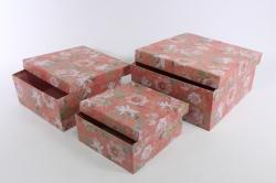 Набор подарочных коробок из 3шт- Квадрат Розовый Цветы 9439