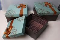 """Набор подарочных коробок из 3шт. """"Квадрат с бантом"""" 28х28х13см 37113"""