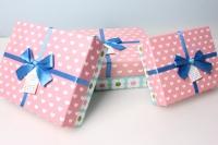 Набор подарочных коробок из 3шт. - Прямоуг. ситец +бант  24х18х8см  цвета и рисунки в асссортименте