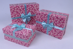 Набор подарочных коробок  из 3шт - Прямоугольник  Цветочки-полоска Розовый