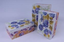 Набор подарочных коробок из 3шт- Прямоугольник Гортензия в саду