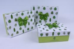 Набор подарочных коробок  из 3шт - Прямоугольник  Листики салатовые