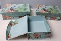 """Набор подарочных коробок из 3шт. """"Прямоугольник, птица"""" 37136"""