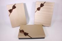 Набор подарочных коробок из 3шт.- Прямоугольник с бантом - бежевая крышка