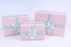 Набор подарочных коробок из 3шт- Прямоугольник с цветами розовый   М27