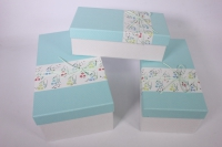 Набор подарочных коробок из 3шт- Прямоугольник с цветочной полосой - голубой