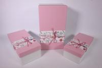 Набор подарочных коробок из 3шт- Прямоугольник с цветочной полосой - розовый