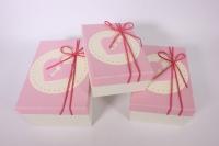 Набор подарочных коробок из 3шт - Прямоугольник с замком - розовый