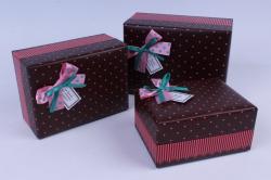 Набор подарочных коробок  из 3шт - Прямоугольник  , сердечки на коричневом  00061974