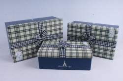 Набор подарочных коробок из 3шт- Прямоугольник синяя клетка с бантом   М28