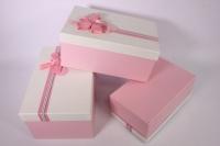 Набор подарочных коробок из 3шт.- Прямоугольник текстурный - белая крышка