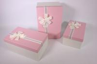 Набор подарочных коробок из 3шт.- Прямоугольник текстурный - розовая крышка