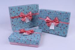 Набор подарочных коробок из 3шт.  Прямоугольник в мелкую розочку голубая крышка