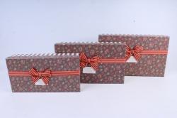 Набор подарочных коробок из 3шт- Прямоугольник в розочку коричневый  М29