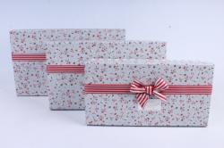 Набор подарочных коробок из 3шт- Прямоугольник в розочку серый  М29
