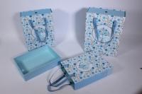 Набор подарочных коробок из 3шт (Прямоугольник) выдвижной с ручкой - голубой