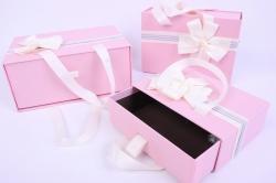 Набор подарочных коробок из 3шт- Прямоугольник выдвижной с ручкой розовый
