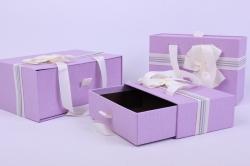 Набор подарочных коробок из 3шт- Прямоугольник выдвижной с ручкой сиреневый