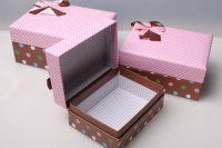 """набор подарочных коробок из 3шт. """"прямоугольные, клетка горох розовый/голубой"""" d46"""