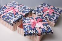 """Набор подарочных коробок из 3шт. Разноразмерные. """"Квадрат"""" цвета в ассортименте"""