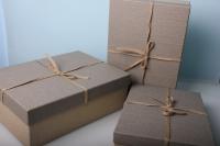 """Набор подарочных коробок из 3шт. Разноразмерные. """"Прямоугьная иметлин""""  38х28х13см цвета в ассортименте"""