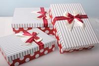 """Набор подарочных коробок из 3шт. Разноразмерные. """"Прямоугольная иметлин+бант""""  29х20х9см А91307-39 цвета и рисунки в ассортименте"""