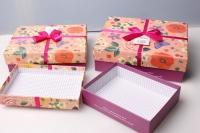 """Набор подарочных коробок из 3шт. Разноразмерные. """"Прямоугольник Цветы""""  24х19х8см цвета и рисунки в ассортименте"""