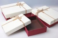 """Набор подарочных коробок из 3шт. Разноразмерные. """"Прямоугольник текстур. с веревкой""""  24х18х7см цвета и рисунки в ассортименте"""