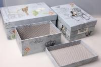 """Набор подарочных коробок из 3шт. Разноразмерные. """"Прямоугольные с цветными и птицами"""" 29х20х10см цвета в ассортименте"""