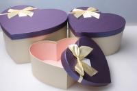 """Набор подарочных коробок из 3шт. Разноразмерные. """"Сердце однотонное"""" цвета и рисунки в ассортименте"""