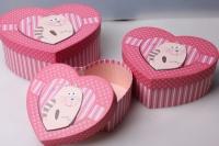 """Набор подарочных коробок из 3шт. Разноразмерные. """"Сердце с Котом/Обезьяной"""" цвета и рисунки в ассортименте"""