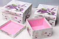 """Набор подарочных коробок из 3шт. Разнразмерные. """"Квадрат"""" 17х17х9см цвета и рисунки в ассортименте"""