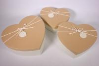 Набор подарочных коробок из 3шт - Сердце- бежевая крышка